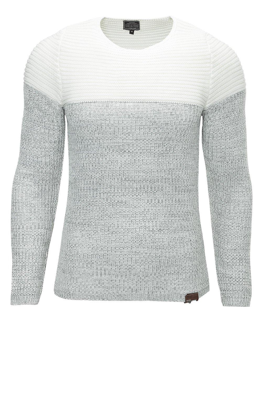 Pulover Tricotat Barbati Carisma Alb-Gri 7288