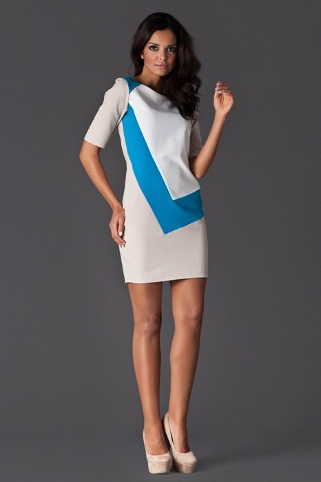 Rochie eleganta moderna bej, albastru si alb
