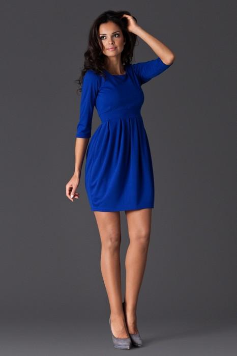 Rochie eleganta albastra cu pliuri din jerse