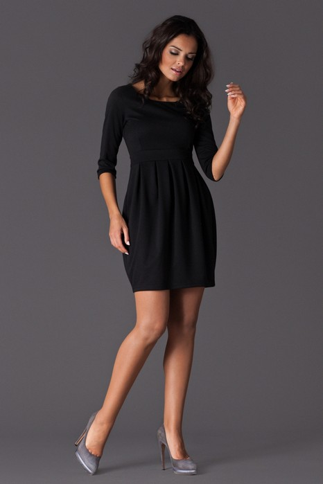 Rochie eleganta neagra cu pliuri din jerse
