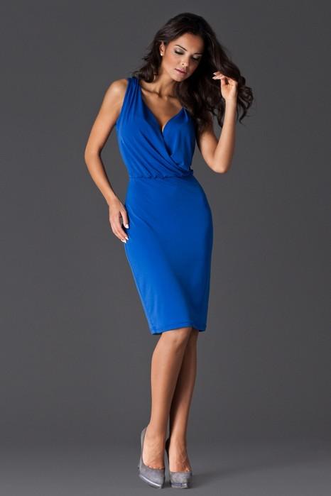 Rochie eleganta de ocazie albastra din jerse fin