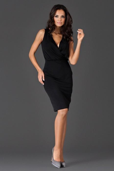 Rochie eleganta de ocazie neagra din jerse fin