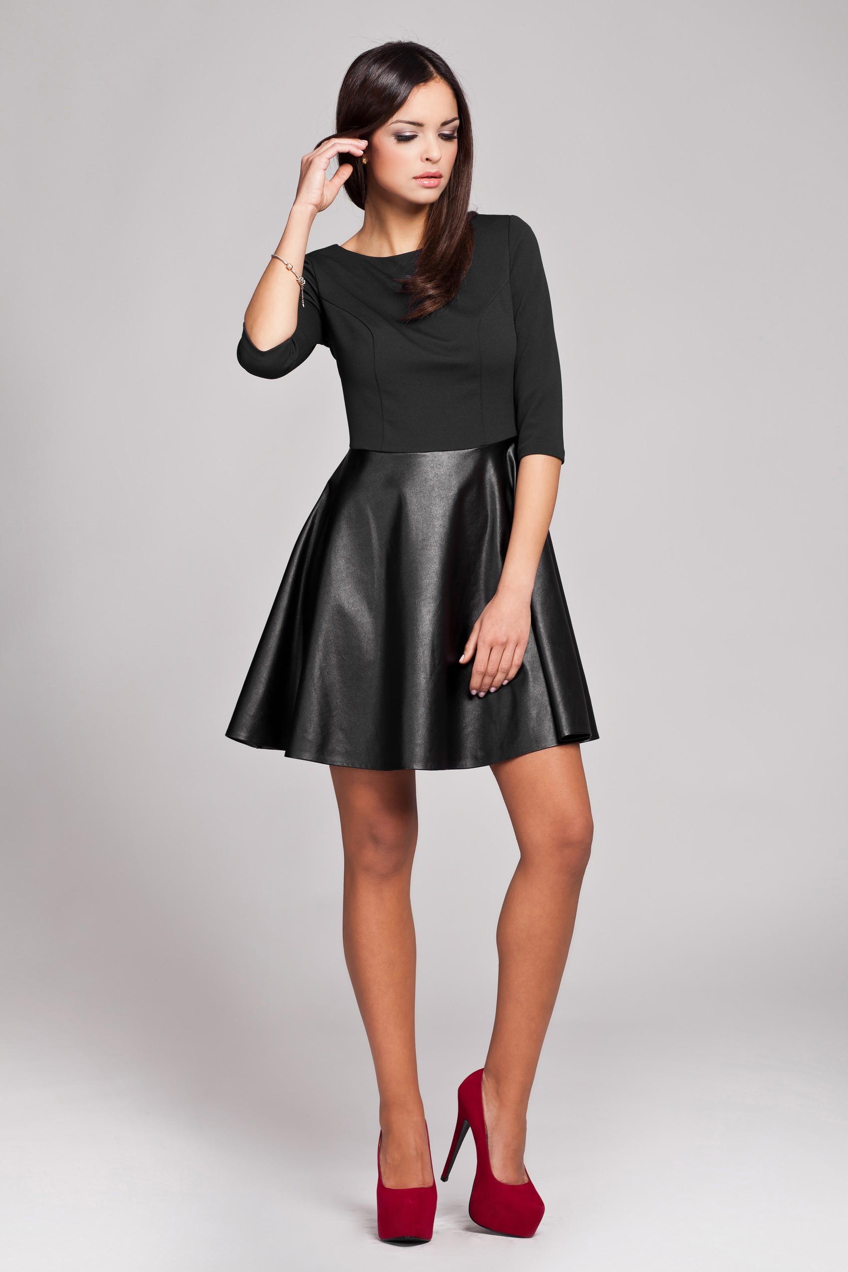 Rochie neagra din jerse si piele ecologica