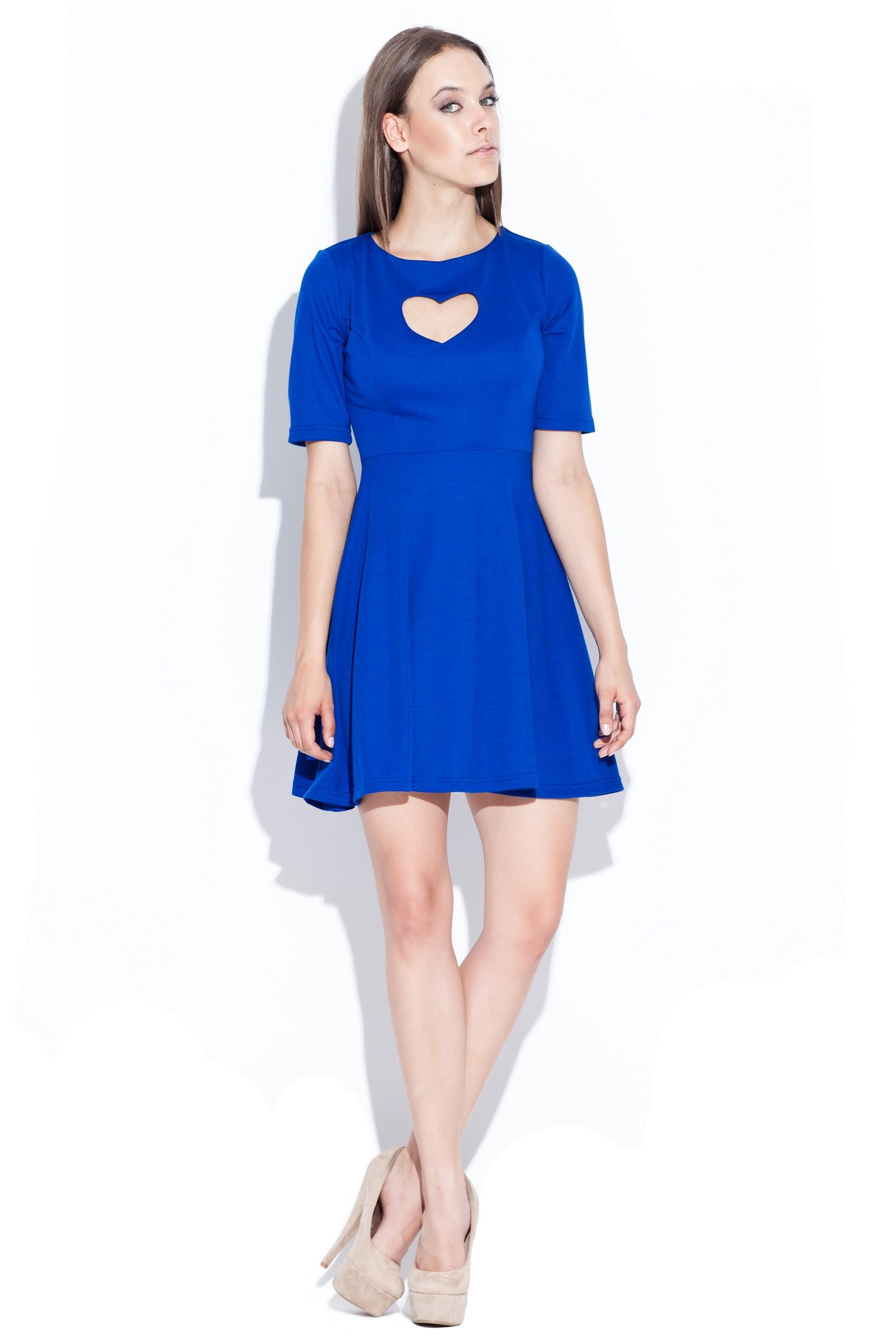 Rochie eleganta albastra cu decupaj in forma de inima