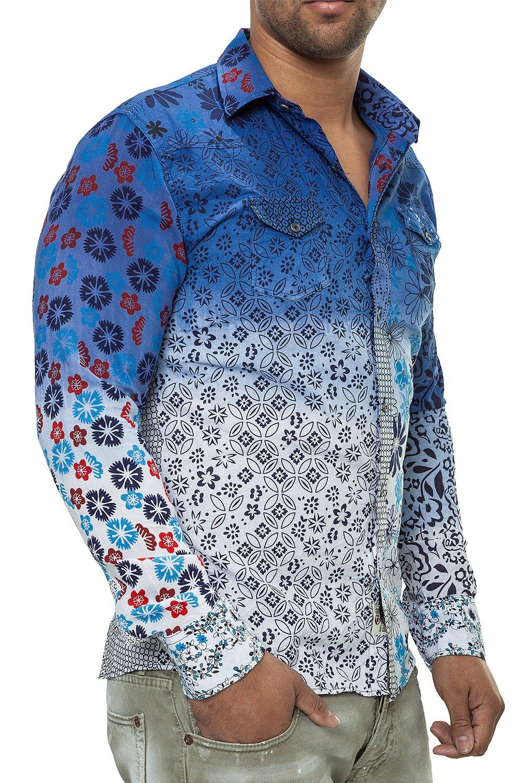 Camasa Barbati Open Jeans Alb-Albastru 1852