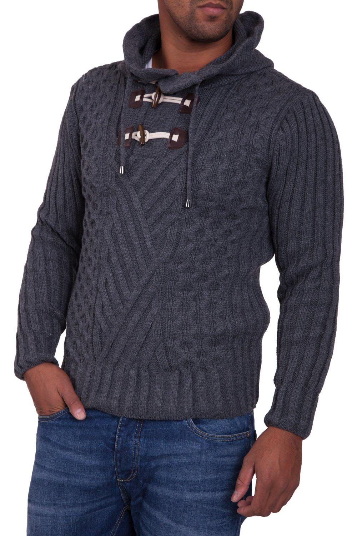 Pulover Tricotat Barbati Carisma Gri inchis 7098